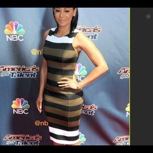 NWT H&m stripe knee length sheath dress new white